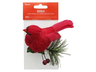 decorative bird: Darice Cardinal Medium With Clip Red