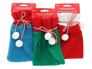 Darice Santa Sack 5 in. x 7 in. Assorted Red Blue Green (3 sets)
