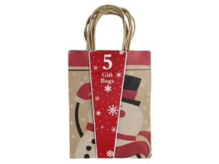Darice Bag Gift Christmas Medium Kraft 5 pc
