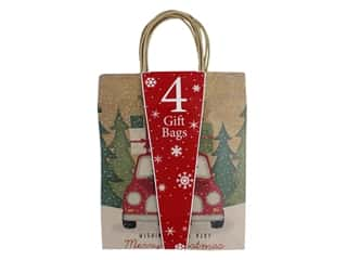 Darice Bag Gift Christmas Large Kraft 4 pc