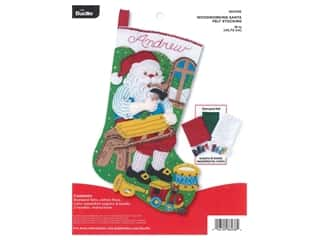 yarn & needlework: Bucilla Felt Kit Stocking 18 in. Woodworking Santa
