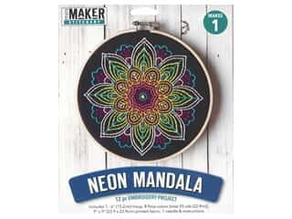 Leisure Arts Mini Maker Embroidery Project 6 in. Neon Mandala