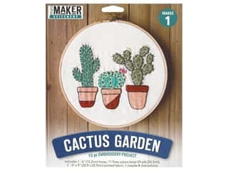 projects & kits: Leisure Arts Mini Maker Embroidery Project 6 in. Cactus Garden