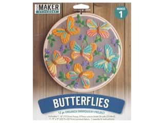 Leisure Arts Mini Maker Organza Embroidery Project 6 in. Butterflies