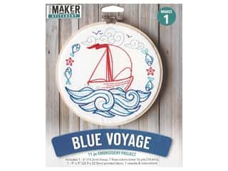 yarn & needlework: Leisure Arts Mini Maker Embroidery Project 6 in. Blue Voyage