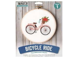 yarn & needlework: Leisure Arts Mini Maker Embroidery Project 6 in. Bicycle Ride