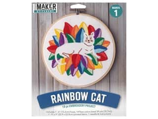 Leisure Arts Mini Maker Kit Embroidery 6 in. Rainbow Cat