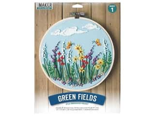 "Leisure Arts Mini Maker Kit Embroidery 8"" Green Fields"