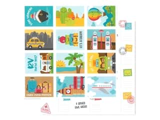 Doodlebug Collection I Heart Travel Paper 12 in. x 12 in. Wish You Were Here (25 pieces)