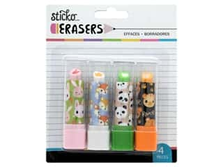American Crafts Lipstick Erasers Animal Heads 4 pc