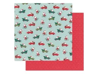 scrapbooking & paper crafts: Pebbles Collection Merry Little Christmas Paper 12 in. x 12 in. Santa On The Go (25 pieces)