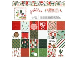 scrapbooking & paper crafts: Pebbles Collection Merry Little Christmas Paper Pad 12 in. x 12 in. Foil Gold