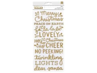 Pebbles Collection Merry Little Christmas Thicker Sticker Blitzen Phrase Foil Gold