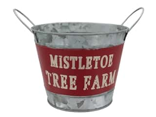 novelties: Darice Holiday Metal Container 7 in. x 5.25 in. Mistletoe Tree Farm