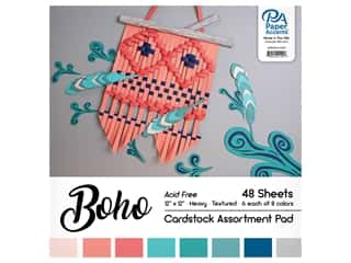 scrapbooking & paper crafts: Paper Accents Cardstock Pad 12 in. x 12 in. Boho Assortment 48 pc