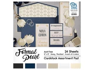 Paper Accents 12 x 12 in. Cardstock Pad 24 pc. Formal Pearl
