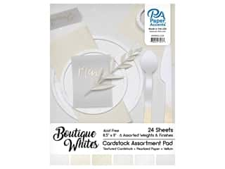 scrapbooking & paper crafts: Paper Accents 8 1/2 x 11 in. Cardstock Pad 24 pc. Boutique Whites