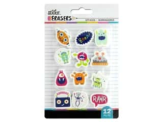 American Crafts Tools Sticko Erasers Robots & Monsters Small 12 pc