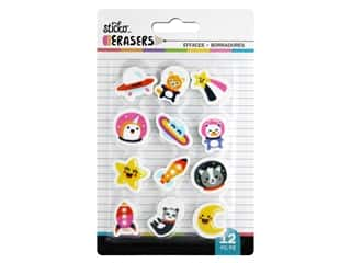 novelties: American Crafts Tools Sticko Erasers Space Small 12 pc