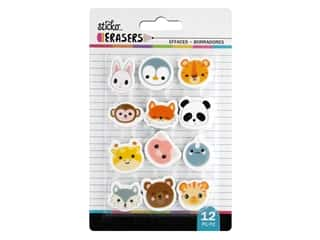 novelties: American Crafts Tools Sticko Erasers Animal Heads Small 12 pc