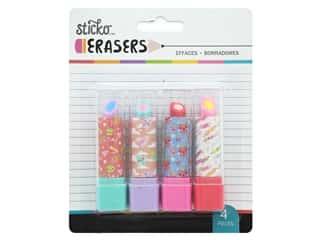 American Crafts Tools Sticko Erasers Lipstick School 4 pc