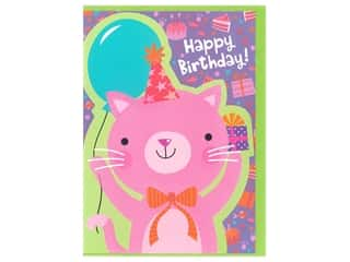 Paper House Die Cut Card Greeting Flocked Kitten Pink