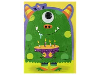 novelties: Paper House Die Cut Card Greeting Flocked Google Eye Monster