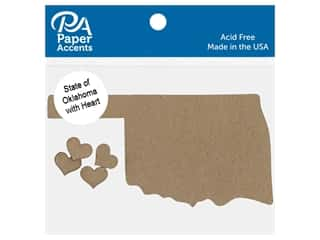 scrapbooking & paper crafts: Paper Accents Chip Shape State of Oklahoma With Heart Natural 4 pc