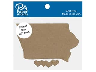 Paper Accents Chip Shape State of Iowa With Heart Natural 4 pc