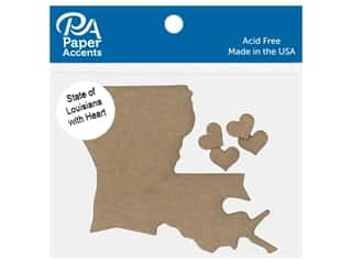 scrapbooking & paper crafts: Paper Accents Chip Shape State of Louisiana With Heart Natural 4 pc