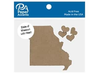 scrapbooking & paper crafts: Paper Accents Chip Shape State of Missouri With Heart Natural 4 pc