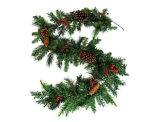 novelties: Darice Garland Pine With Pinecones-Berries 10 in. x 6 ft