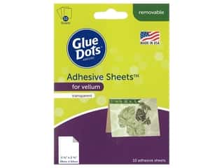 glues, adhesives & tapes: Glue Dots Adhesive Sheets 3.5 in. x 2.5 in. For Vellum 10 pc
