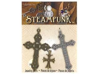 beading & jewelry making supplies: Solid Oak Charm Steampunk Crosses 3 pc