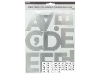craft & hobbies: Darice Sticker Large Alpha/Number 2.5 in. Silver 148 pc