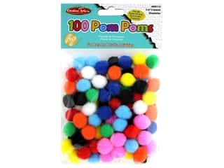 Creative Arts Pom Poms .5 in. Bright Assorted 100 pc