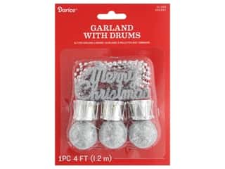 craft & hobbies: Darice Garland Christmas Plastic w/Drum Silver Glitter 48 in.
