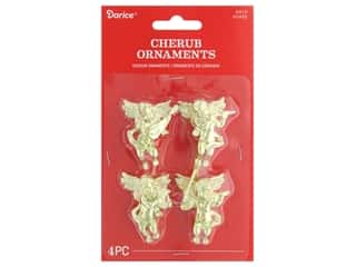 craft & hobbies: Darice Ornament Cherub Plastic 1.75 in. Gold 4 pc
