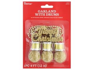 craft & hobbies: Darice Garland Christmas Plastic w/Drum Gold Glitter 48 in.