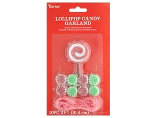 craft & hobbies: Darice Garland Lollipop Candy Plastic Red Green 36 in.