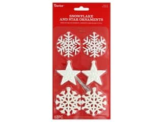 Darice Ornament Snowflake Star Plastic 2 in. White 12 pc