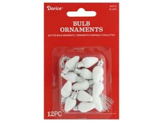 craft & hobbies: Darice Ornament Bulb Plastic 1 in. White Glitter 12 pc