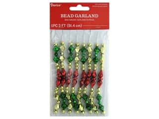 craft & hobbies: Darice Garland Bead Plastic Gold Red Green 36 in.