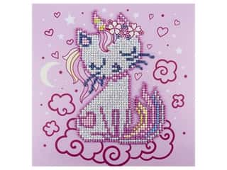 Diamond Art Kit 8 in. x 8 in. Sparkle Rainbow Uni-Kitty