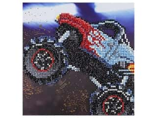 "diamond art: Diamond Art Kit 8""x 8"" Sparkle Monster Truck"