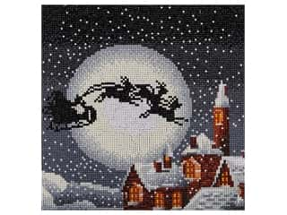 craft & hobbies: Diamond Art Kit 12 in. x 12 in. Full Drill Holiday Santa's Sleigh