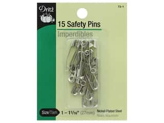 elastic: Safety Pins by Dritz 1 1/16 in. Nickel 15 pc