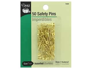 elastic: Safety Pins by Dritz 3/4 in and 7/8 in. Brass 50 pc.