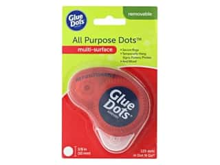 glues, adhesives & tapes: Glue Dots Removable 3/8 in. Dispenser Disposable 125 pc