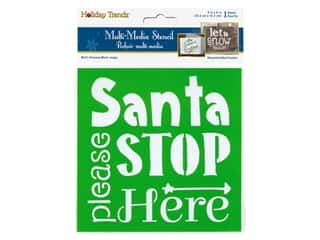 craft & hobbies: Multicraft Craft Decor Stencil 6 in. x 6 in. Holiday Santa Stop